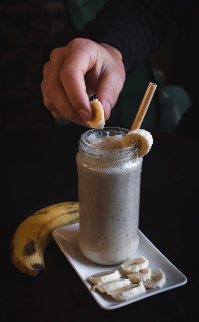 Banana protein shake made with protein powder.